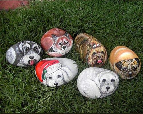 piedras pintadas animales