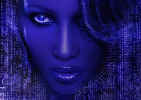 Cara en azul